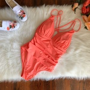 La Blanca Coral Peach Pink One Piece NWOT Strappy